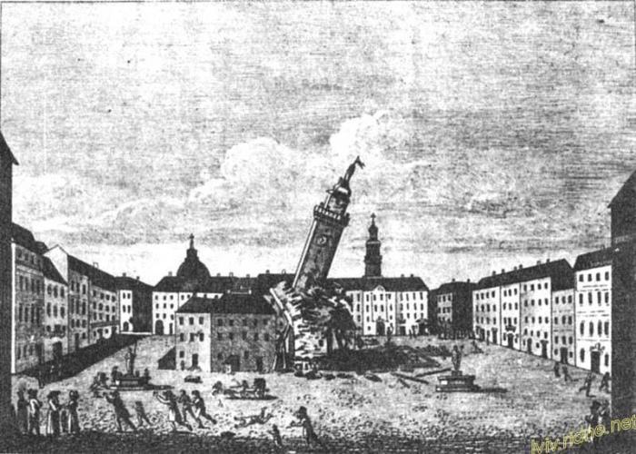 Малюнок 1826 на якому зображено падіння вежі Ратуші під час пожежі