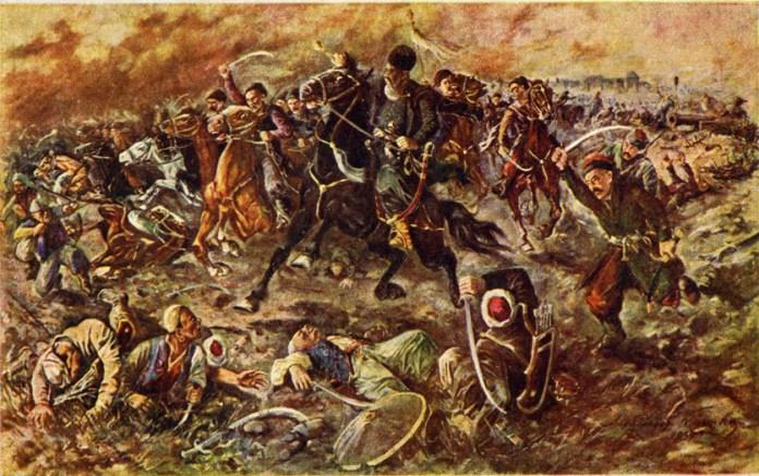 Поштівка 1938 року, присвячена перемозі Сагайдачного над турками. Фото з https://uk.wikipedia.org