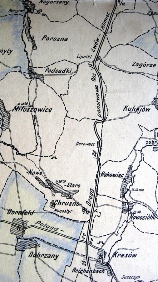 Фрагмент карти Львівського повіту на відрізку дороги Львів-Клімець