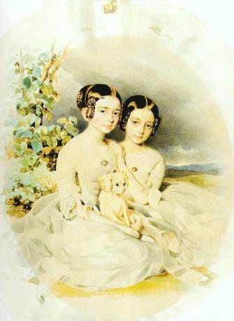 """Алоїзій Рейхан """"Портрет Аніели з її сестрою Валерією"""" 1850"""