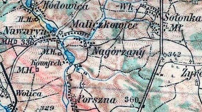 Нагоряни на карті початку 20 ст