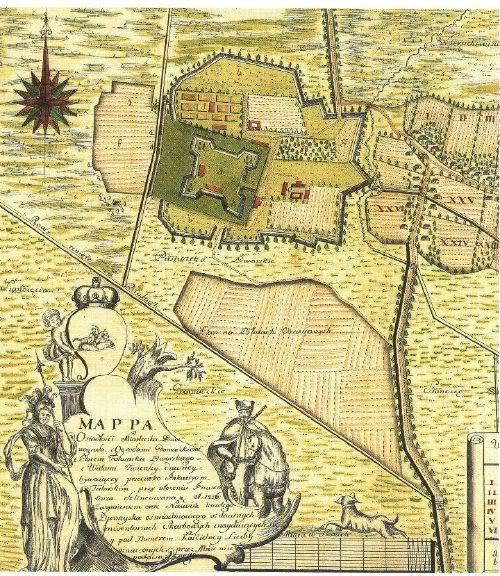 Замок в Звенигороді на мапі 1766 року