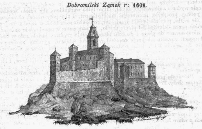 Добромильський замок на гравюрі Алозія Томашевського 1698 року