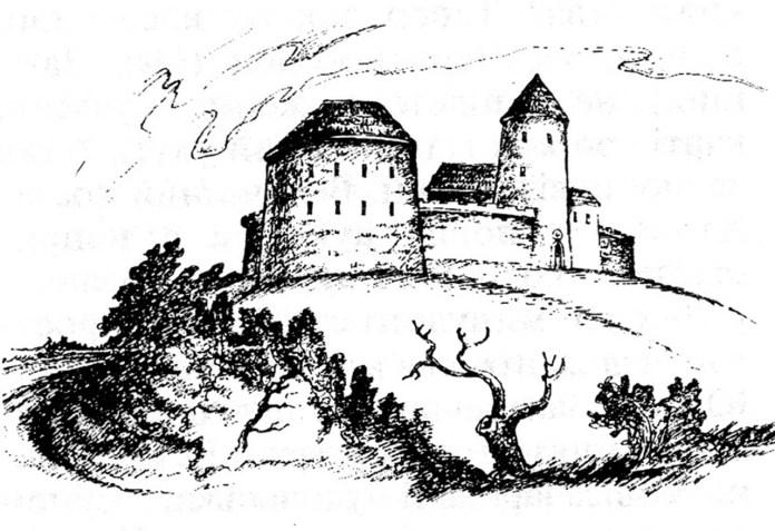 Замок у с. Підтемне(малюнок - реконструкція Козурака)