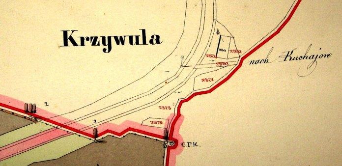 Фрагмент кадастрової карти 1850 року. У теках Шнайдера 1879 року на Кривулі вказана корчма дерев'яна при дорозі Стрийській