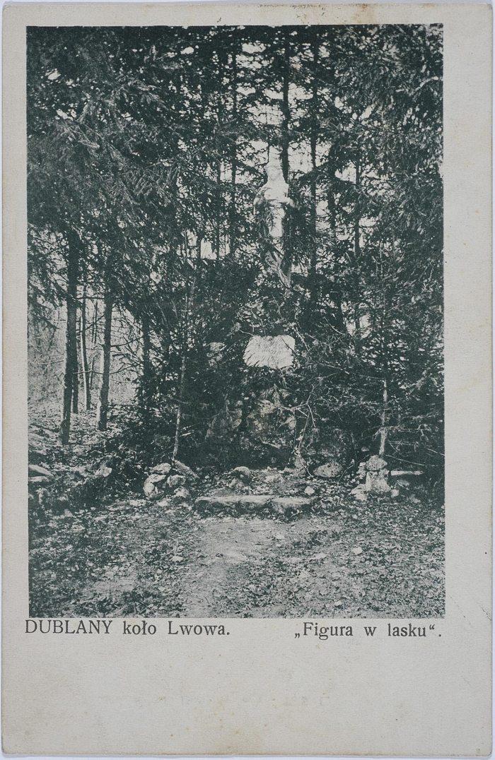 Листівка з фотографією з Фігурою Божої Матері у Дублянах , 1908 р.