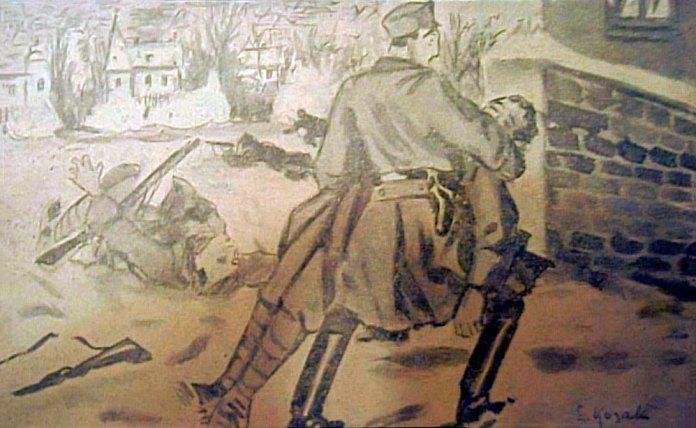 Четар Купчинський виносить пораненого стрільця. Малюнок Едварда Козака