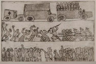 "Леопольд Левицький ""Демонстрація"" (папір, офорт, суха голка) 1930-і роки"