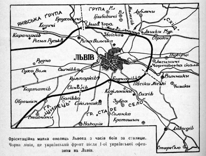 Орієнтаційна мапа околиць Львова з часів боїв за столицю. Чорна лінія - це український фронт після 1оїх української офензиви Львова
