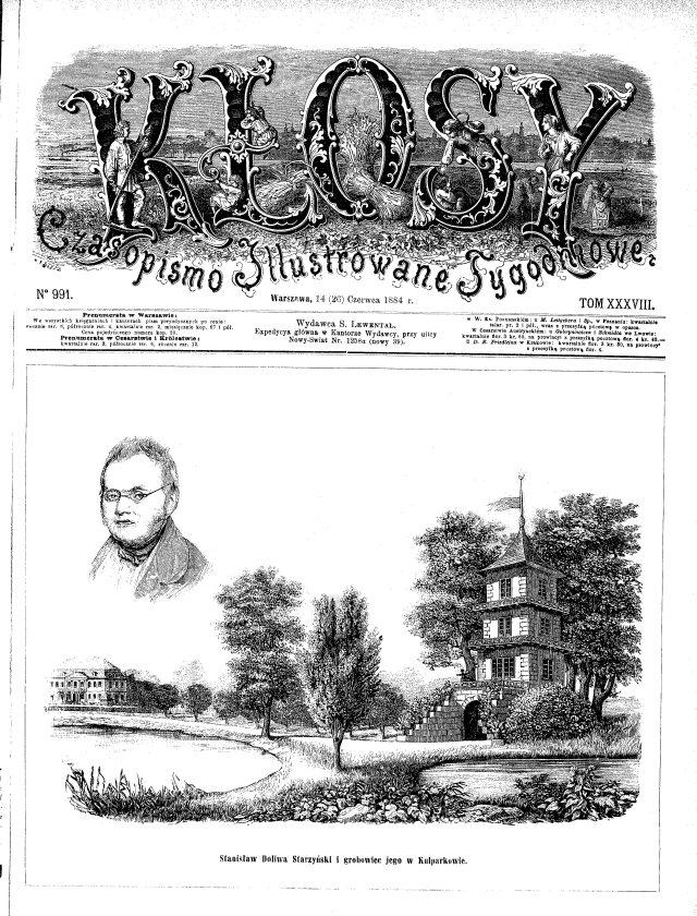 Перша сторінка чосопису «Kłosy» за червень 1884 року
