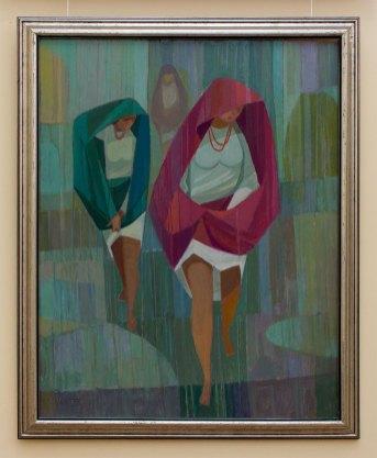 Мирон Левицький. Несподіваний дощ. 1988 рік, картон, олія