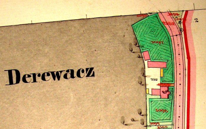 Будинок пошти у Деревачі на кадастровій карті 1850 рок
