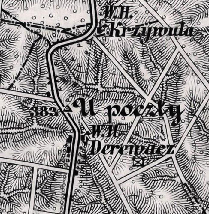 Корчма і фільварок у Деревачі на військово-топографічній карті періоду Першої світової війни.Символічно зберігся топонім (U poczty)