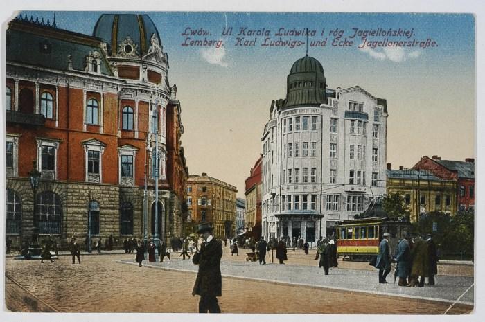 Будинок Празького банку праворуч від Галицької ощадної каси. Листівка 1916 року