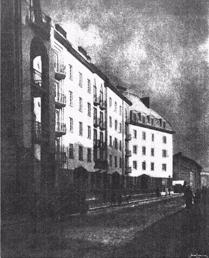 Житловий комплекс № 24-26-28-28 А для працівників Пенсійного закладу на вулиці На Байках (сучасній Київській), 1920-ті роки, фото J. Nauman