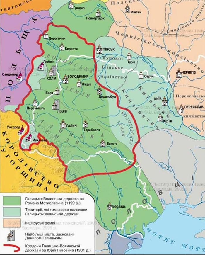 Карта Галицько-Волинської держави за часів Роман Мстиславовича (1199 рік)