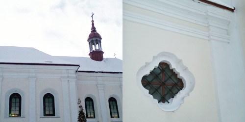 Бічний фасад костелу; одне з вікон передсінку костелу. Фото Хлян І.