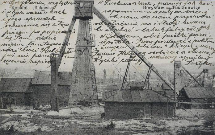 Нафтові вишки в Бориславі, поштівка 1917 року