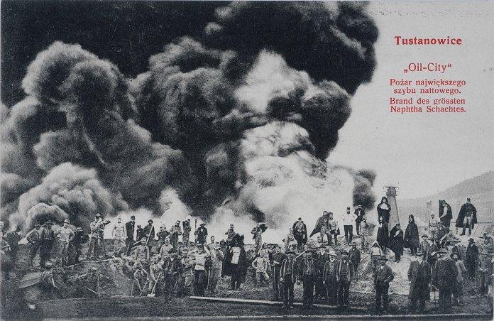 """Тустановичі, """"Нафта-Сіті"""", найбільша пожежа нафтової свердловини, 1908 рік"""