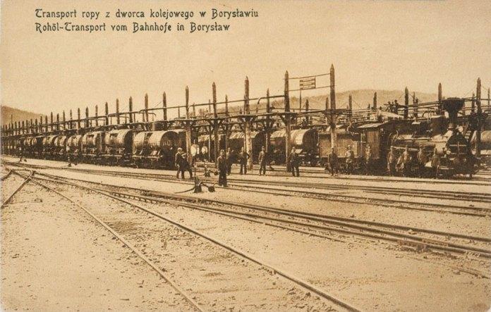 Залізнична станція в Бориславі. Цистерни з нафтою готові до відправки, 1910 рік