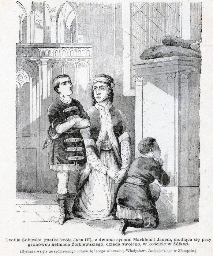 Ян Собеський з братом Мареком та з мамою Софією Теофілою Собеською