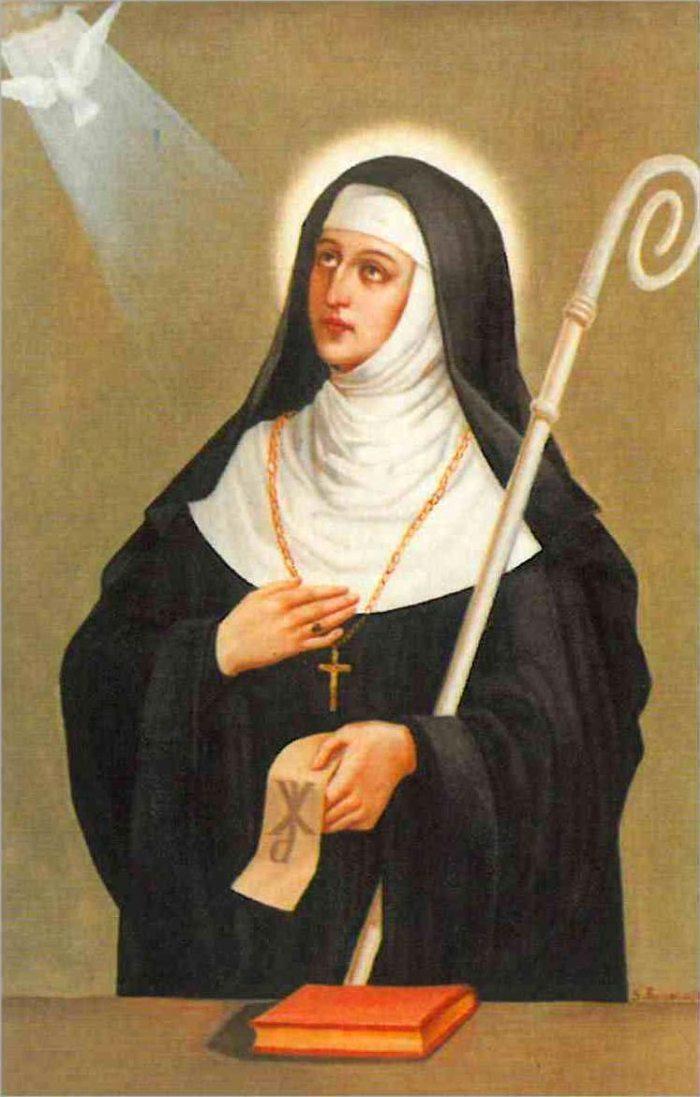 Свята Схоластика, яка була першою духовною Матір'ю жіночої гілки СС Бенедиктинок.
