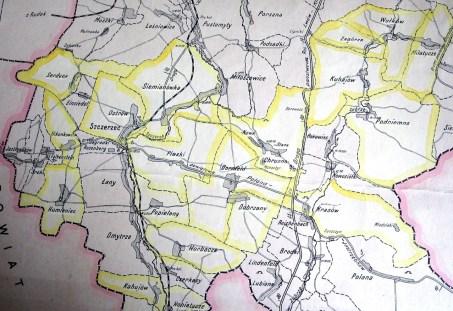 Фрагмент мапи мережі молочарських спілок Щирецького ключа