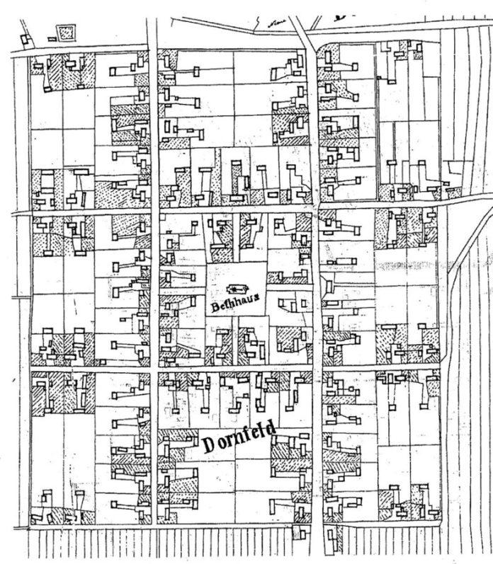 Кадастрова карта колонії Дорнфельд 1854р.