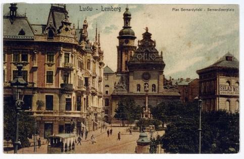 Електричний трамвай на площі Галицькій, фото до 1910 р.