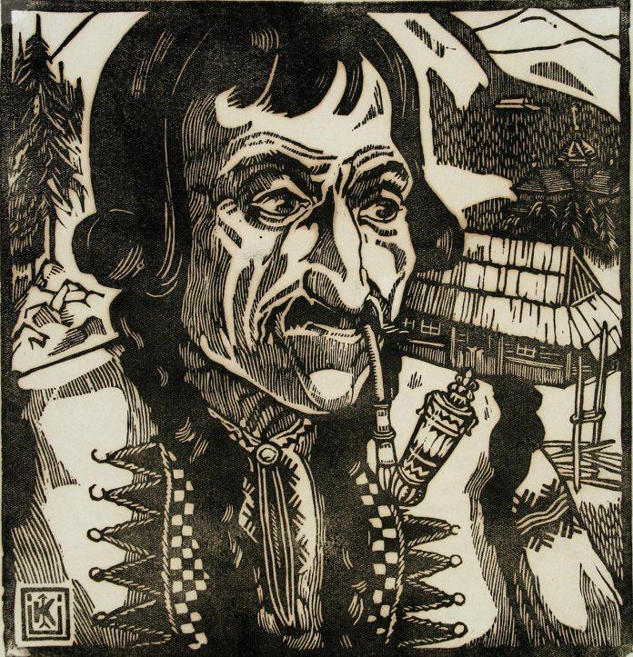 """Олена Кульчицька. Гуцул-газда. Із циклу """"Гуцульщина. 1935р. Папір, лінорит."""