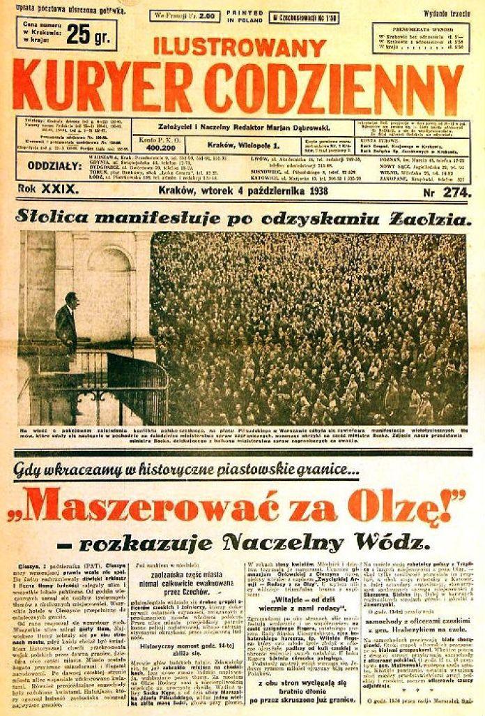 """""""Щоденний ілюстрований кур'єр"""" - краківська газета, у якій """"Фама"""" розміщувала рекламу (1938 рік). Перша шпальта, до речі, присвячена польському вторгненню в Заолжя - на думку деяких істориків, цим актом міжвоєнна Польща де-факто долучилася до німецької анексії Чехословаччини. Фото: pl.wikipedia.com"""
