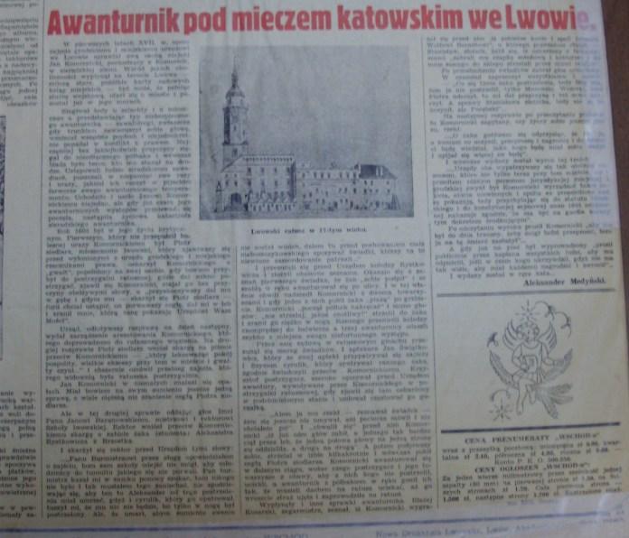 """Стаття з газети """"Wschod"""" про Коморницького. Фото Є. Гулюка"""
