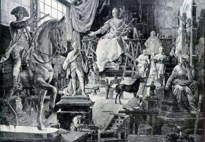 Робота над пам'ятником Марії Терезії в майстерні проф. К.Цумбуша.