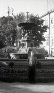 Фонтан на проспекті Леніна (тепер Свободи).Фото Анатолія Васильківського, 1956 р.