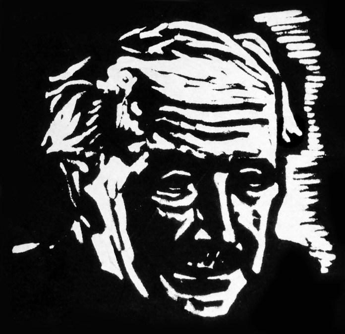 Станіслав Людкевич. Художник Богдан Хрупович. Ліногравюра, 1970-і рр.