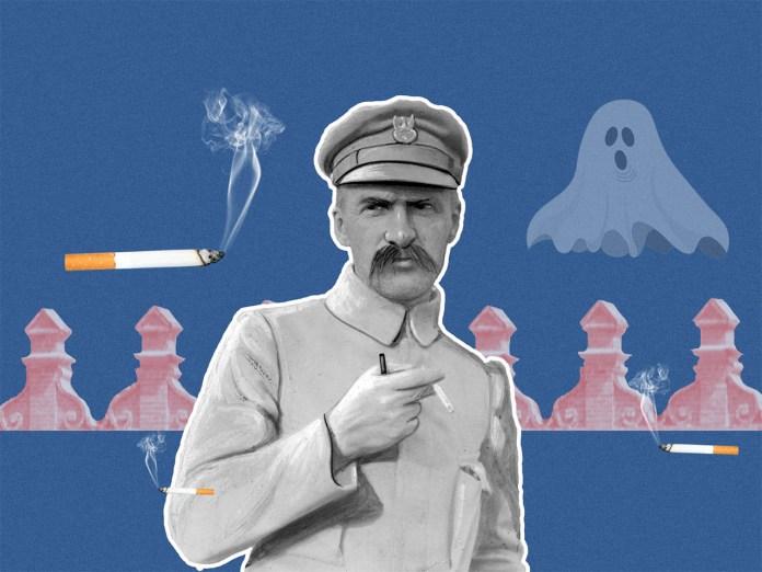 Юзеф Пілсудський курить цигарку в Луцьку і згадує про привида. Колаж Олександра Котиса