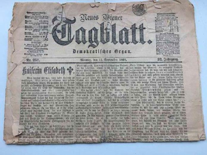 """Перша шпальта газети """"Neues Wiener Tagblatt"""" 1898 р., редактором якої був Морріс."""