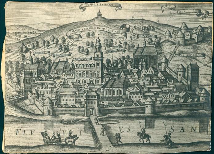 Перемишль – фотографія рисунку Брайна Георга, Кьольн 1618 рік. Джерело: Бібліотека «Polona».