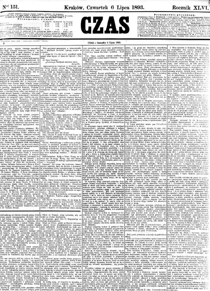 Звіт преси про перебіг католицького віче у Кракові, яке відбулося 5-го липня 1893 року.