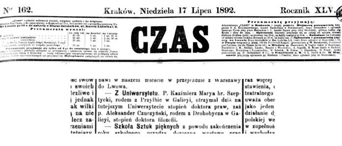 Повідомлення у пресі про те, що Казимир граф Шептицький успішно захистив титул доктора права.