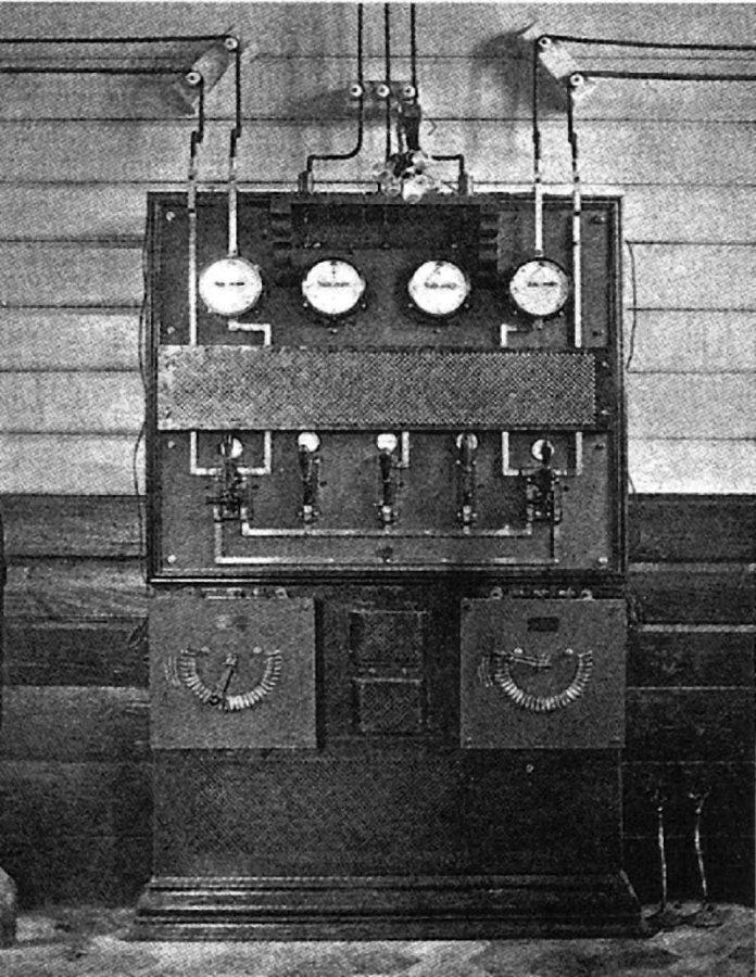 Розподільчий щит першої львівської електростанції. 1894 р.