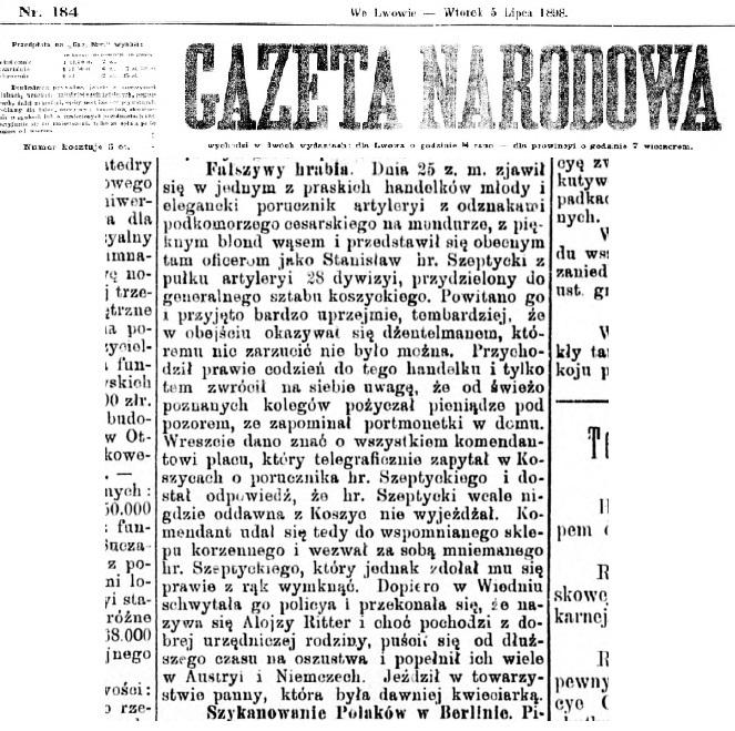 Повідомлення у пресі про фальшивого графа Шептицького