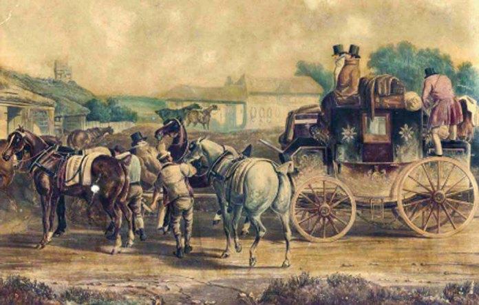 Зміна коней поштового диліжансу на поштовій станції. Малюнок середини ХІХ століття