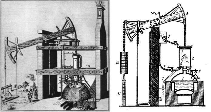 Загальний вигляд і принципова схема парового насоса Ньюкомена