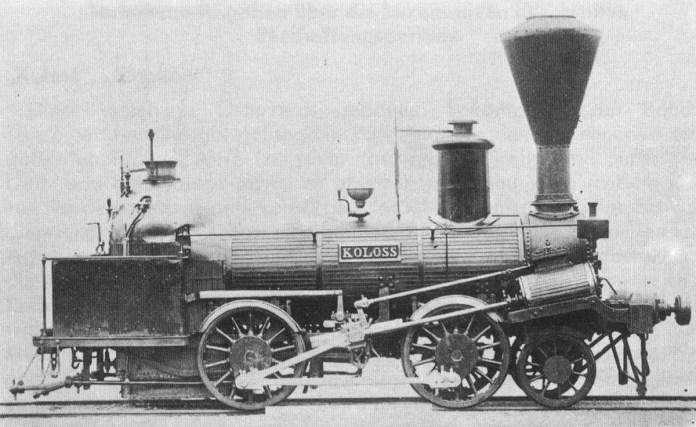 """Паровоз """"Колосс"""", виготовлений у 1844 році."""