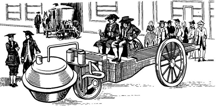 Паровий візок Кюньо. Сучасний рисунок.