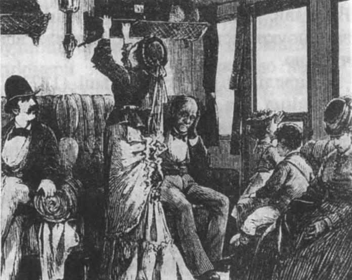 У салоні пасажирського вагона ІІ класу. Малюнок кінця ХІХ ст