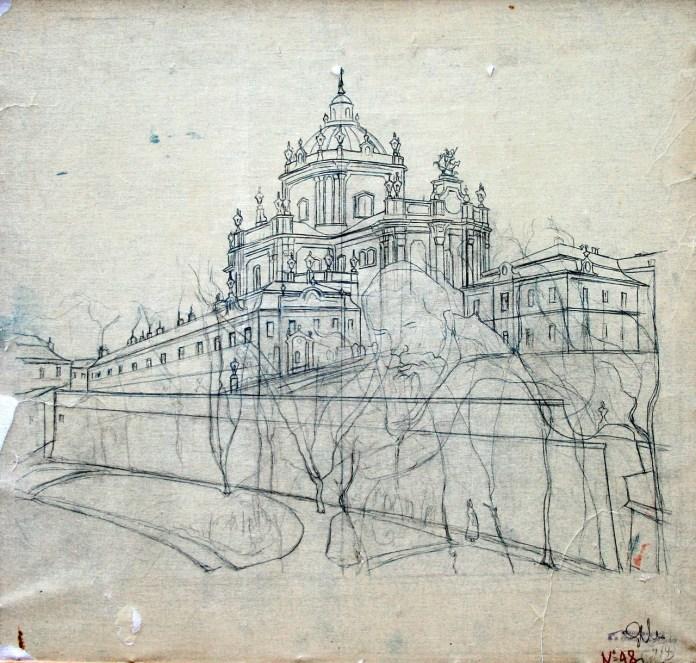 Собор Святого Юра. Графіка авторства Олекси Новаківського