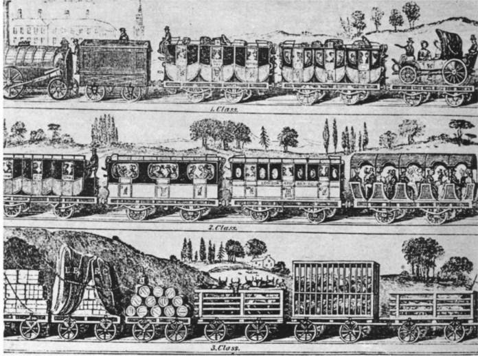Поїзд із вагонами трьох класів