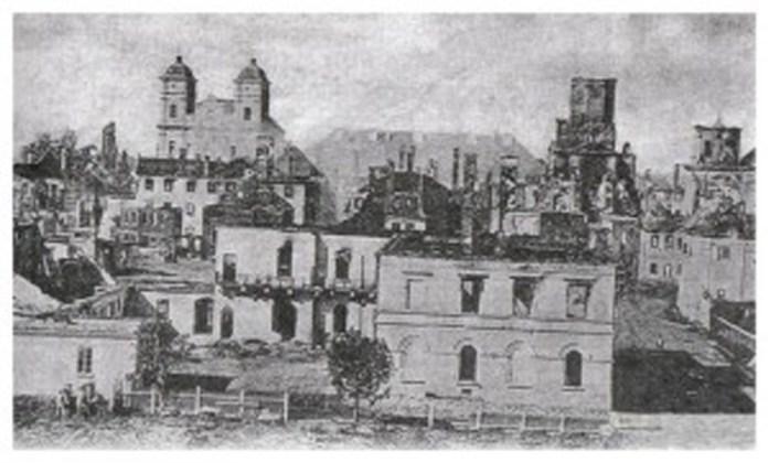 Центральна частина Станіславова після пожежі 1868 року. Старе фото.